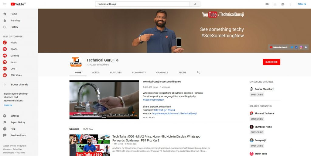 Top 10 Tech YouTubers - Technical Guruji YouTube