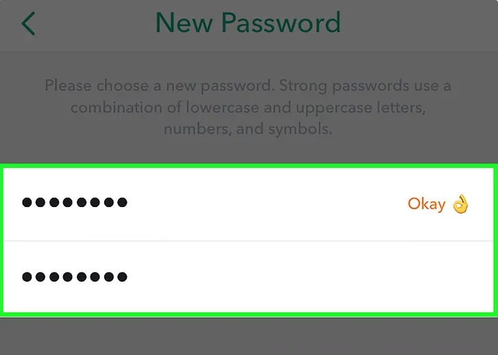 Snapchat new password